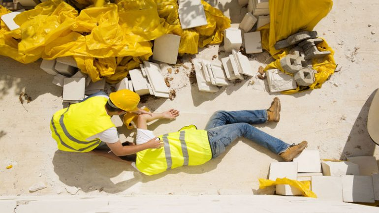 22224257 - construction worker has an accident while working on new house